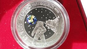 Austria 20 Euros Silver 50 Years Moon Landing Apollo 11 Domed Coin