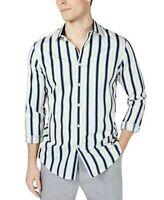 International Concepts Mens Button Front Shirt Blue Striped Long Sleeve 2XL New