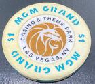 Old $1 MGM Grand Theme Hotel Casino Poker Chip Vintage BJ Mold Las Vegas NV 1993