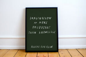 Albert Einstein Quote Print! Hand written, poster, art, science, imagination,
