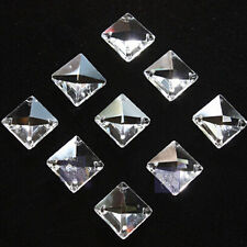 5pcs Clear Crystal Square Beads Prisms Chandelier Lamp Chain Parts 14mm 4 Holes