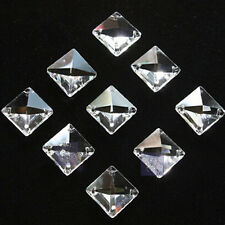 50pcs Clear Crystal Square Beads Prisms Chandelier Lamp Chain Parts 14mm 4 Holes