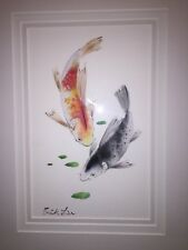 Erik Liu Chinese-American Watercolor Original Art Framed Koi Fish Painting