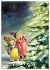 Lisi MARTIN~ LITTLE GIRL & BOY Christmas Tree Candle Miracle ART KIDS postcard