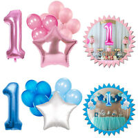Foil Latex 25pcs Pink Blue Balloons Set 1st Birthday Party Decorations Boy Girl