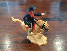Timpo 2nd Series Mounted Cowboy -  Black/ Red with Olive Legs -1960's