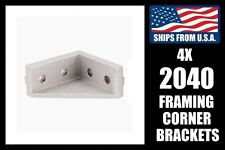 Qty. 4 2040 Corner Framing Brackets for 2020 Extrusion, Aluminum T-slot Gusset