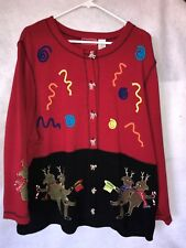 ONQUE WOMAN CHRISTMAS SWEATER - Dancing Reindeer - 2X - EUC