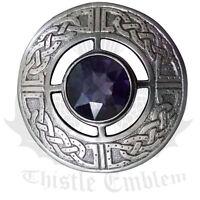 "Scottish Kilt Fly Plaid Brooch Celtic Various Stones Silver Antique Finish 3"""