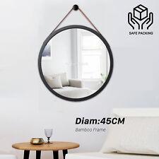 Bathroom Mirror 45cm Round Decor Makeup Black Frame Wall Hung Leather Hallway