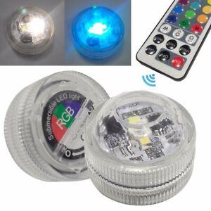 2x LED RGB Submersible Waterproof Party Vase Decor Base Light + 1x Remote