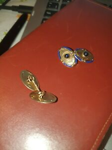14k enamel and gold with set carbachon cufflinks