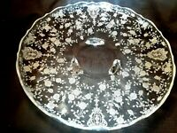 "Vintage Elegant Cambridge ""Rose Point"" Etched Crystal 12.5"" Round Tray, 3 Footed"