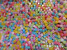 200 Acrylic Colourful AB 4mm x 4mm Cubes, Squares Mixed Colours - PB36