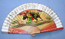 Beautiful Vintage Hand Painted Bullfight Scene Hand Fan