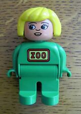 "LEGO DUPLO ZOO KEEPER WOMAN LADY WORKER 2.5"" FIGURE Green Outfit Excellent! Rare"