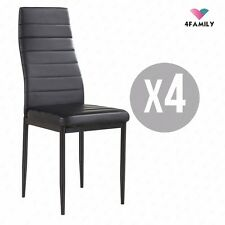 Set of 4 Stunning Black Dining Chairs Comfortable Leather Dining Room Furniture