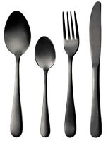 Bergner 24 Piece Stainless Steel Cutlery Set. High Gloss Stainless Steel Black