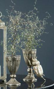 Pokal Vase Amphore Metall Antik-Silber Shabby Vintage Landhaus Garten Deko 27cm