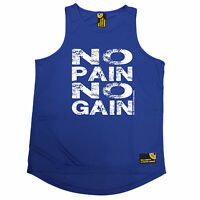 No Pain No Gain SWPS MENS DRY FIT VEST birthday workout gym training fitness