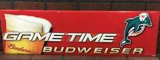 Budweiser Beer Metal Tin Sign Gametime Miami Dolphins Football Logo