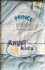 NEW Baby Boys Girls 100% COTONE BLU Principe Con Cappuccio Accappatoio Wrap Bambini Asciugamano