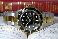 Quartz Sub Divers Watch Rotating Black Bezel ST/ST 2 Tone strap Fully Lumed