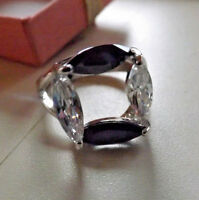 Sterling Silver 925 Ring Band Jewelry w 2 Purple Amethyst & Clear Stones Size 8