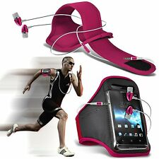 Quality Sports Armband Gym Running Phone Case Cover+In Ear Headphones✔Pink