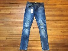 ZARA MAN SKINNY FIT WASHED BLUE DENIM BIKER MOTO JEANS S 30 44 38 AMAZING PAIR