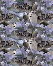 David Textiles Exotic Wildlife MM 2014 4C 1 WOLVES Cotton Fabric BTY