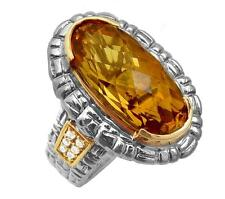 Philip Andre 18k Gold & Sterling Silver Diamond & Citrine Designer Ring size 7