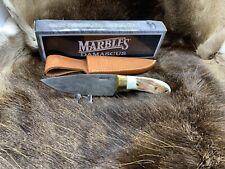 "Marbles 9 1/4"" MA-520 Damascus Steel Stag Knife LeatherSheath Mint Box Nice"