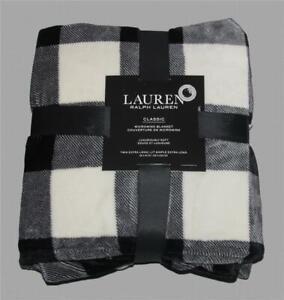 "Ralph Lauren Black Cream Buffalo Plaid Micromink Twin XL 66"" x 94"" Blanket NWT"