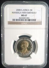 2008 Nelson Mandela 90th Birthday R5 - MS67 NGC Bi-Metallic - Scarce