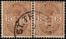 Danish West Indies - 1903 - 8 Cents Brown Coat of Arms #30 Pair w St. Thomas CDS