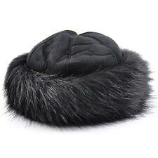 Mujer Todo en Negro Redondo Piel Sintética   ante Gorro de Invierno  Acolchado 2a5a8dc7166