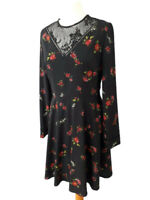 Warehouse 12 Black Rose Floral Sheer Lace Fit Flare Dress Long Sleeve Party