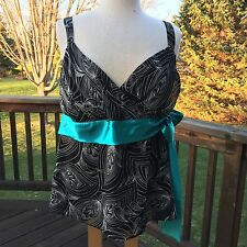 New Lane Bryant Womens Tank Top Sz 16 Slvls Surplice Black Teal Sash Evening 1X