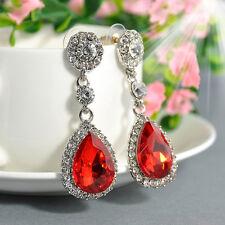 1 Pair Chic Women Dangle Hook Crystal Rhinestone Silver Plated Ear Stud Earrings