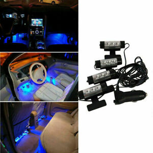 4X 12 LED 12V Car SUV RV Interior Atmosphere Under Dash Floor Light Strip Blue