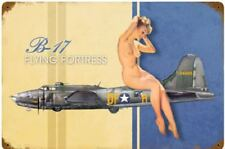 B-17 Flying Fortress PinUp Girl rusted steel sign 460mm x 300mm (pst)