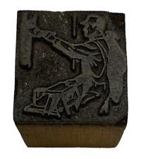 Vintage Painter Letterpress Printers Block Zinc Plate On Solid Wood
