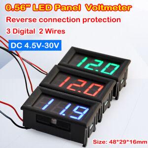 """0.56"""" 3-Digital Voltage Meter 2 Wires DC 4.5V-30V LED Panel Voltmeter Ammeter"""