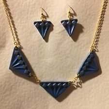 ART DECO STYLE NECKLACE & DROP EARRINGS SET * TRIPLE DIAMOND * BLUE GOLD PLATED
