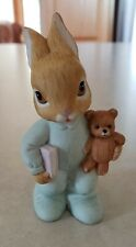 Homco Baby Boy Bunny In Blue Pajamas Holding Teddy Bear And Book Figurine