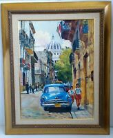 Framed Original Canvas Painting Cuba Street Old Car People 34x42 Signed