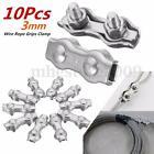 10Pcs 3mm Duplex Clips Stainless Steel Wire Cable Rope Grips Clamps Caliper