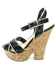 American Eagle Outfitters Womens Shoes Platform Wedges Sandals 5 Black Patent  2