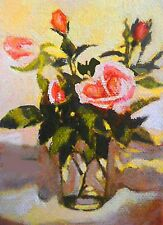 ACEO MINIATURE ROSES IN WATER GLASS  MINIATURE OIL PAINTING BRADBERRY